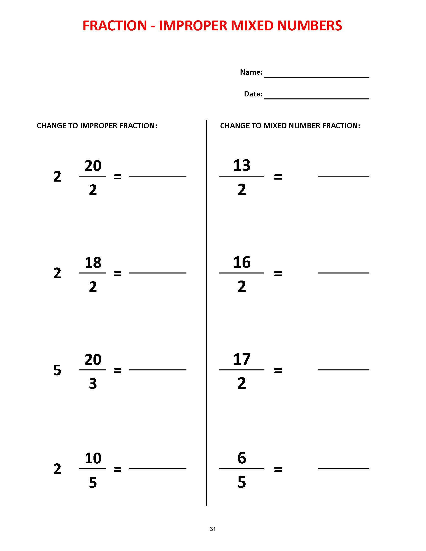 Free Printable Equivalent Fractions Worksheets