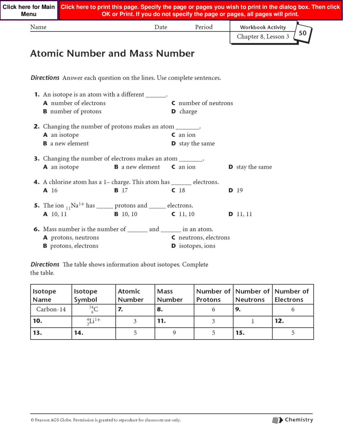 Atomic Mass And Number Worksheet Worksheet For Kindergarten