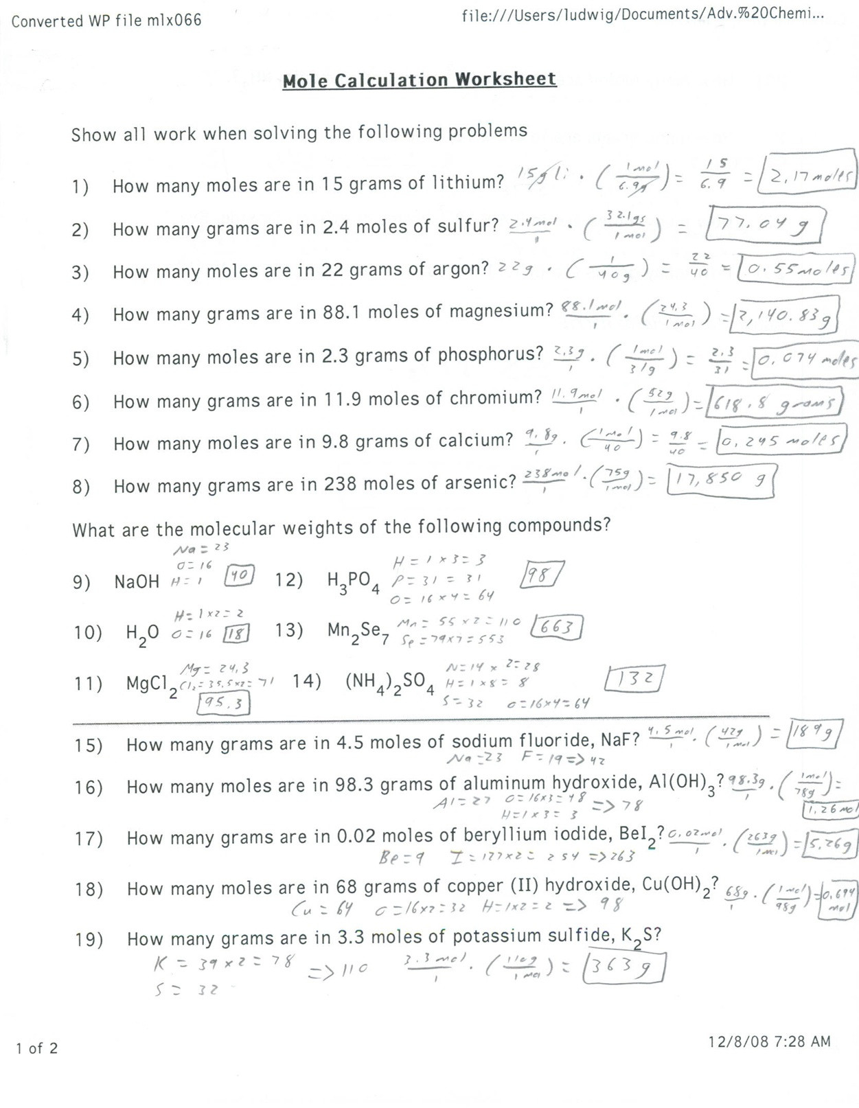 Avogadro Number Worksheet Answers Worksheet For Kindergarten