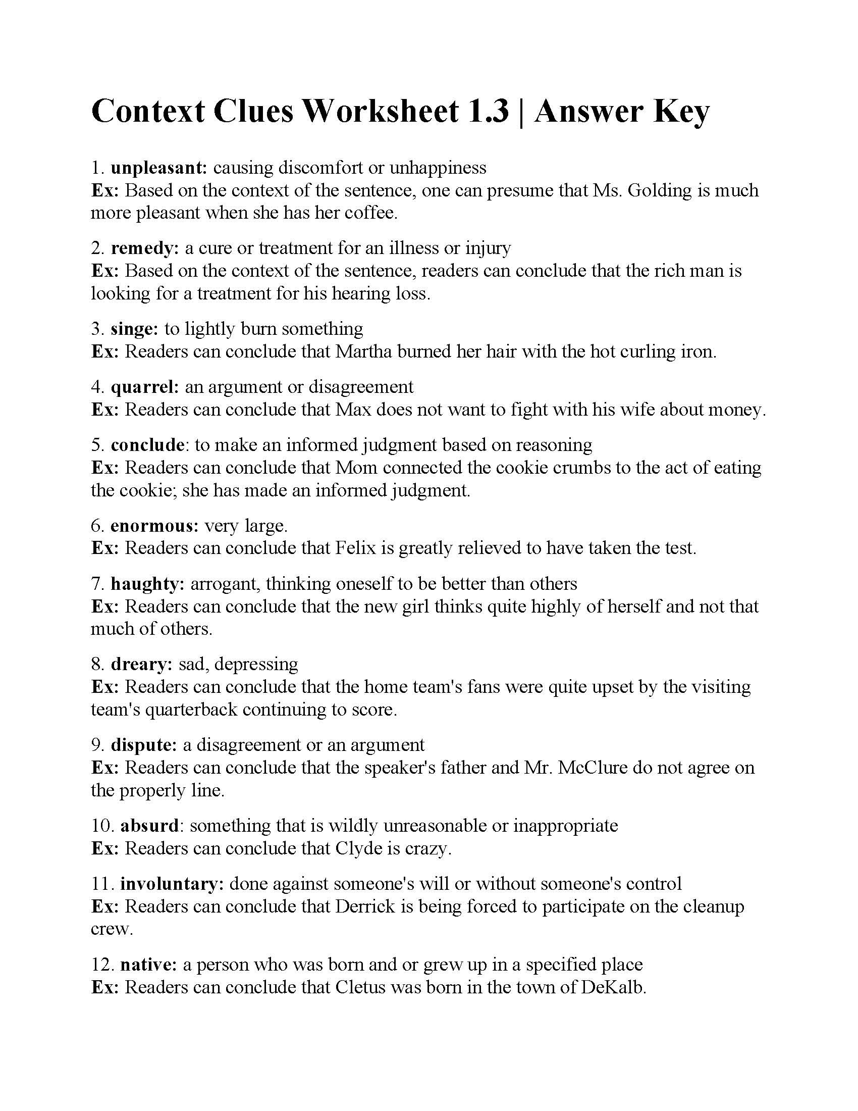 High School Context Clues Worksheets Worksheet For