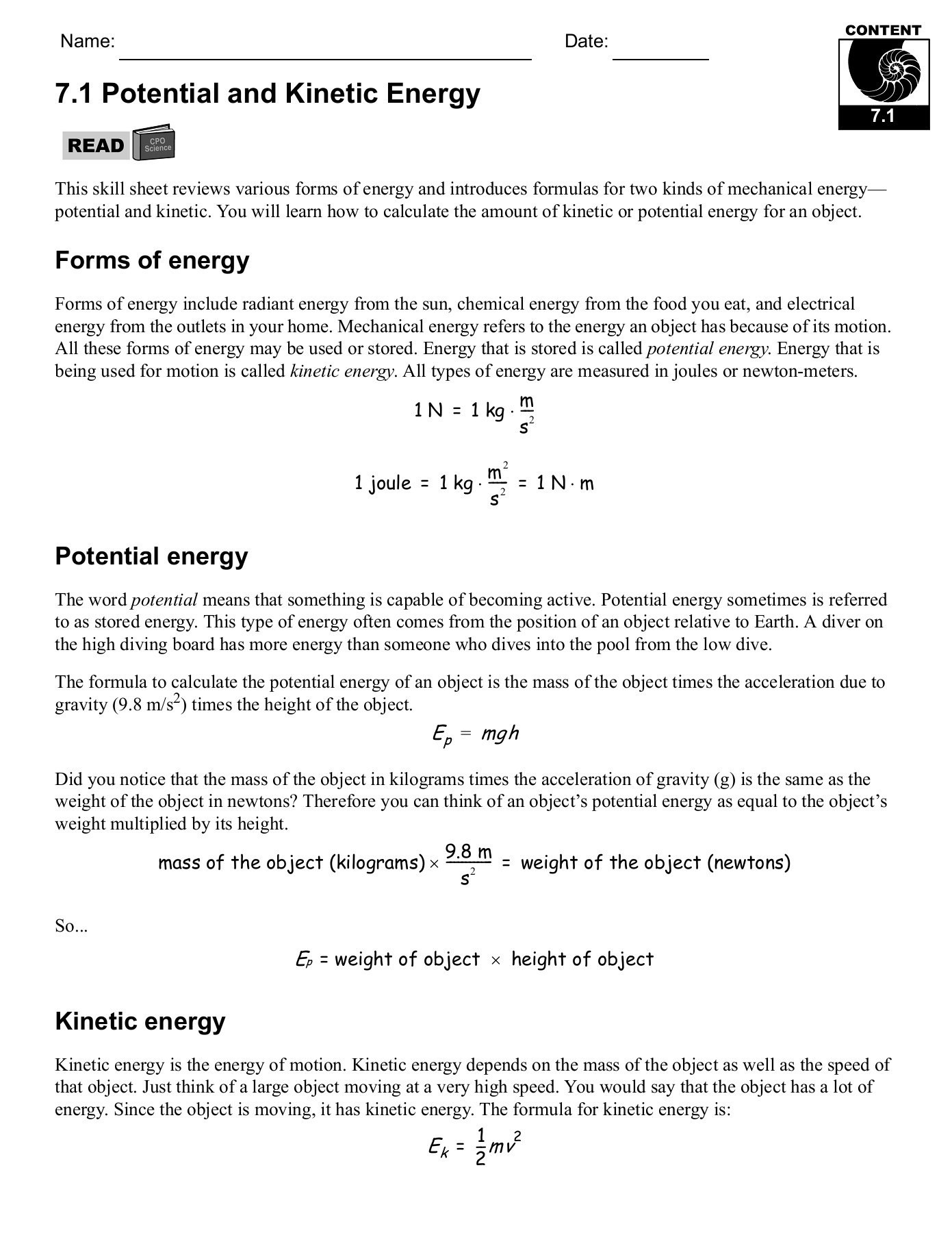 Kinetic Energy Worksheet High School Worksheet For
