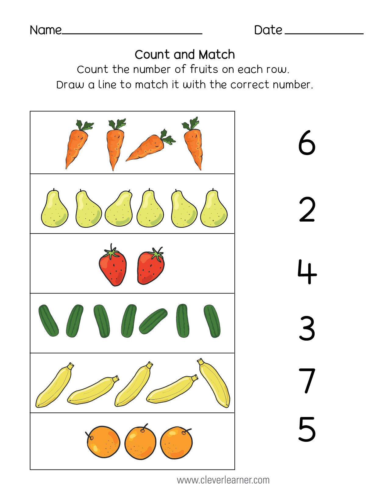 Match The Numbers Worksheet Worksheet For Kindergarten