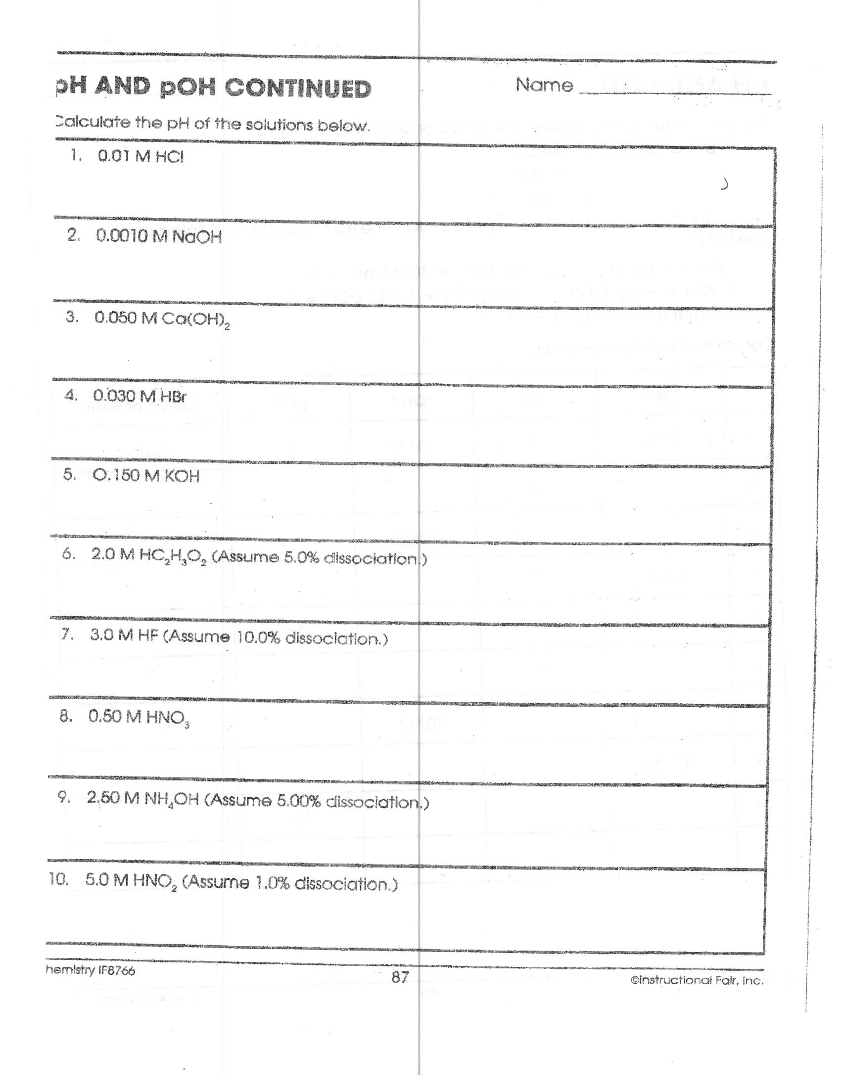 Ph Worksheet High School