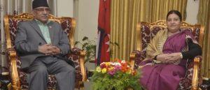 प्रचण्ड, माधव र झलनाथ राष्ट्रपतिलाई भेट्न शितल निवासमा