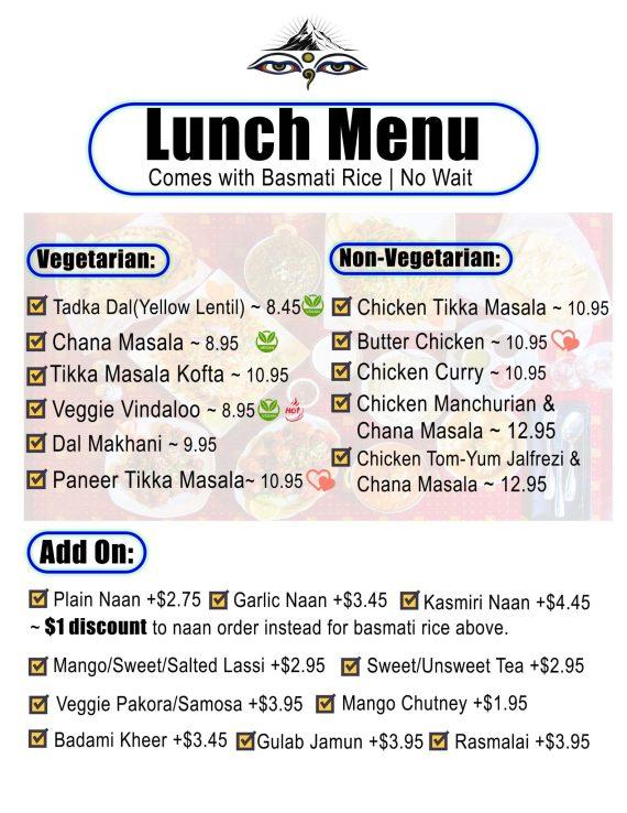 Everest  Lunch Menu