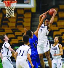 Pope John's Marques Bouyer (14) hauls in a rebound.