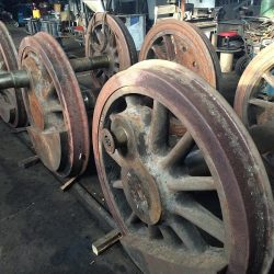 December 2014: New tires are mounted on Number 11's drive wheels. Photograph by Zach Hall