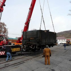 November 2008: #38's tender arrives its new home in Claysburg, PA.    Alan W. Maples, photograph