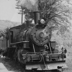 #11, on the Bath & Hammondsport, working at Hammondsport on an NRHS Excursion train on May 15, 1949.  Photographer Unknown; Collection of Alan W. Maples