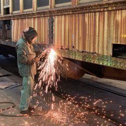 Car 997's side sills featured heavy rust, requiring large amounts of metal to be removed.
