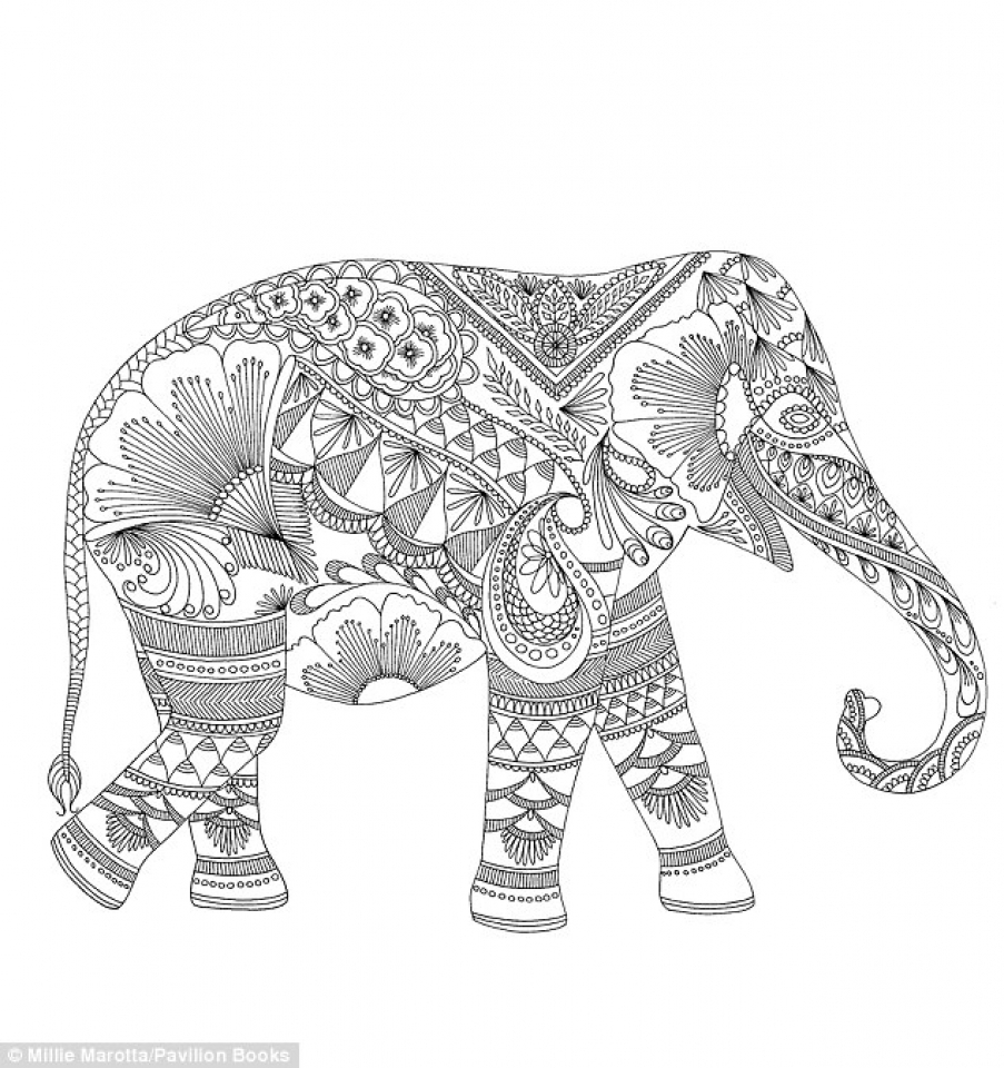 Abstract Elephant Coloring Pages   553218