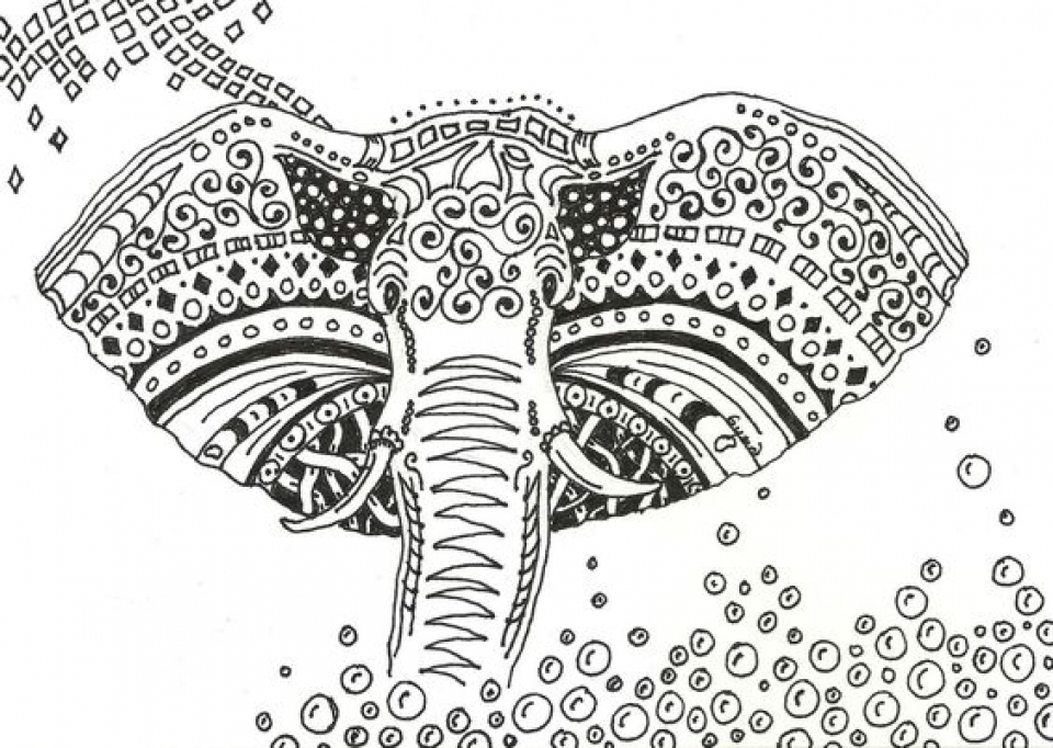 Abstract Elephant Coloring Pages   55684