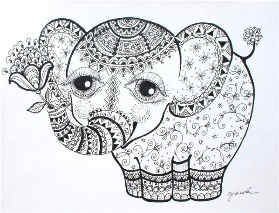 Abstract Elephant Coloring Pages   886432
