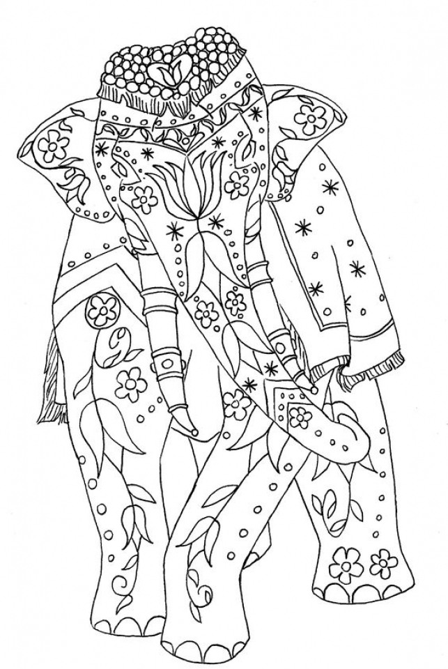 Difficult Elephant Coloring Pages for Grown Ups   98gh53sd