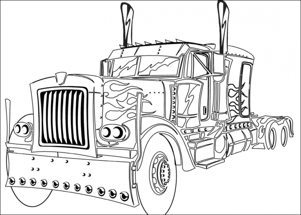 Easy Optimus Prime Coloring Page for Preschoolers   9iz28