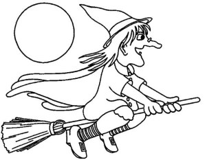 Easy Preschool Printable of Witch Coloring Pages A5BzR