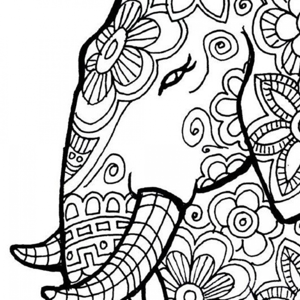 Free Printable Elephant Coloring Pages for Adults   ad54569