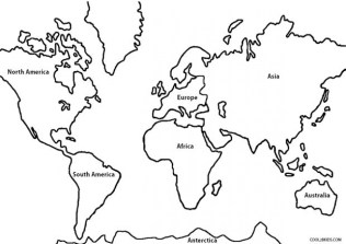 Free Simple World Map Coloring Pages for Children af8vj