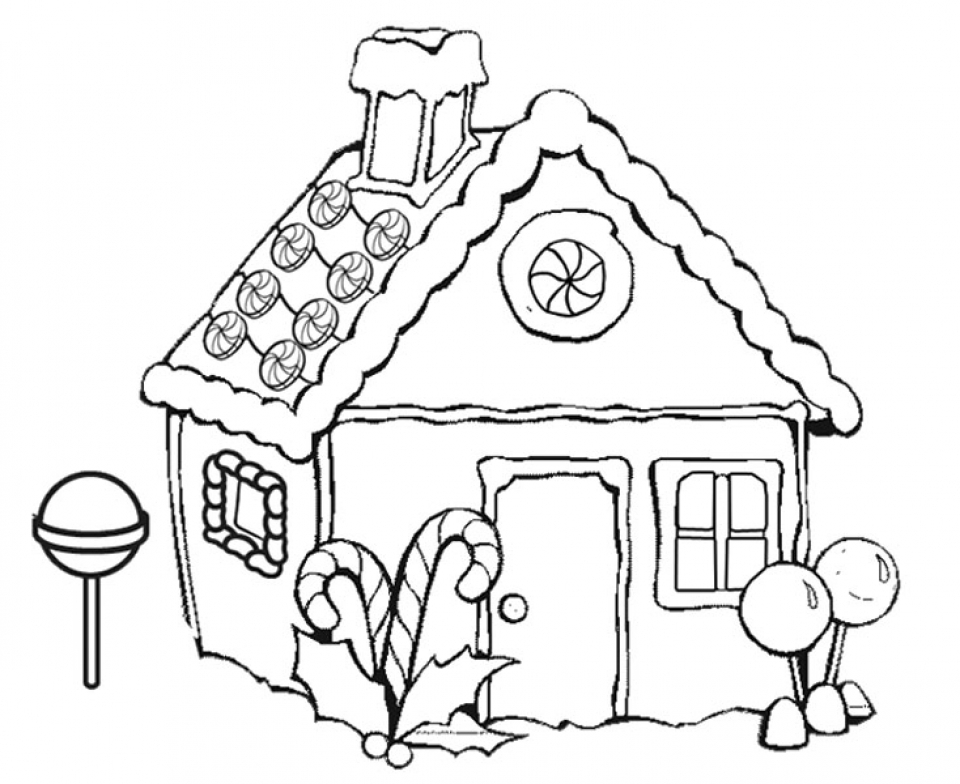 Gingerbread House Coloring Pages Free for Kids   6Ir1n