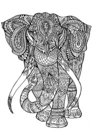 Hard Elephant Coloring Pages for Adults 75289
