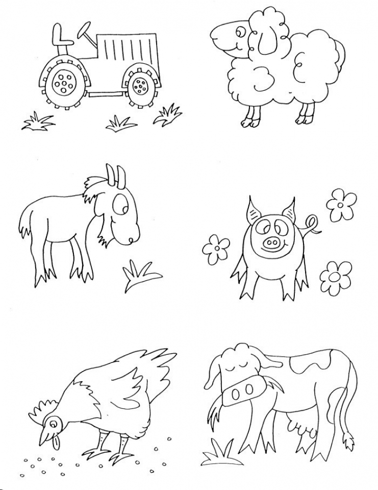 Picture of Farm Animal Coloring Pages Free for Children   upmly