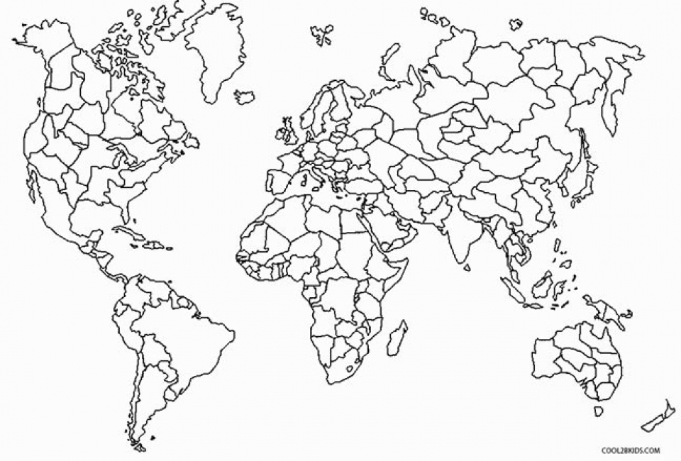 Picture of World Map Coloring Pages Free for Children   upmly