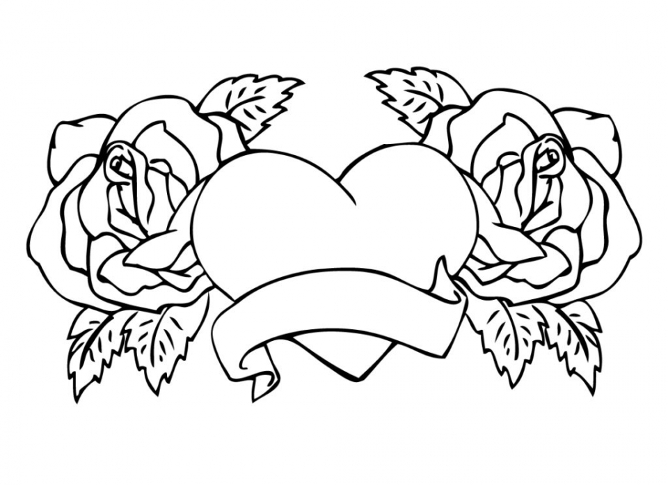 Hearts and Roses coloring page | Free Printable Coloring Pages | 697x960