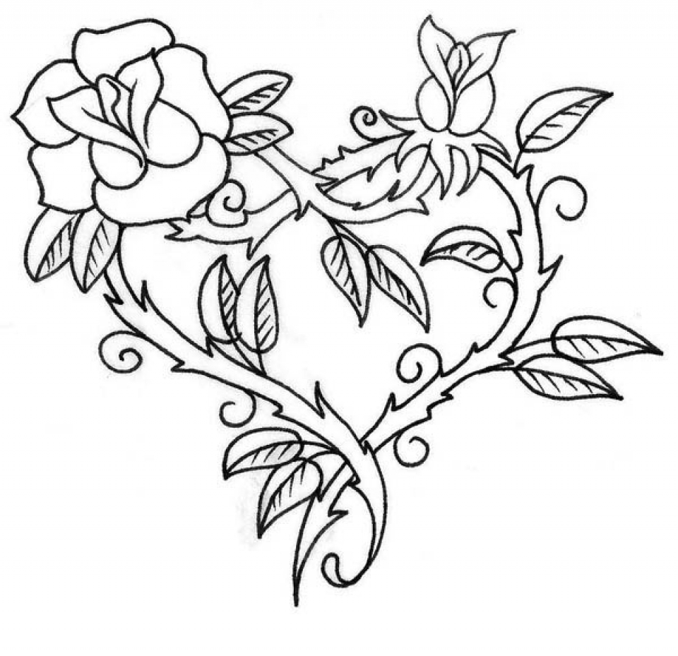 Get This Printable Roses Coloring Pages For Adults 73400