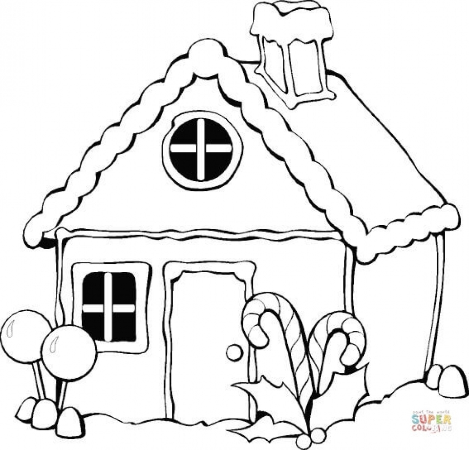 Simple Gingerbread House Coloring Pages to Print for Preschoolers   kbld1
