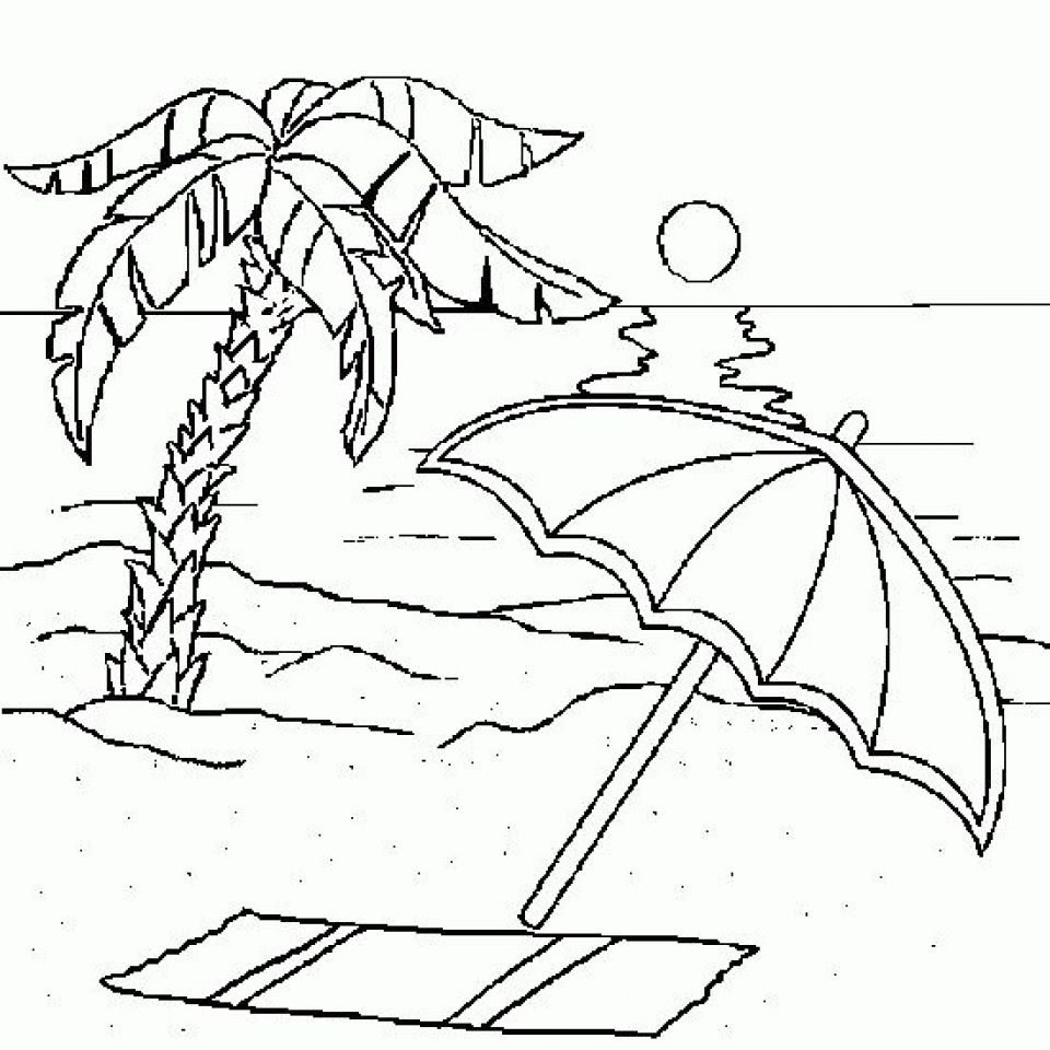 Tropical Beach coloring page | Free Printable Coloring Pages | 960x960