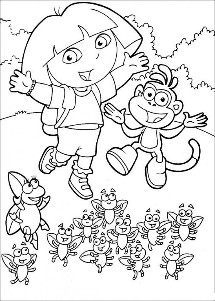 Dora The Explorer Coloring Pages Free Printable   u043e