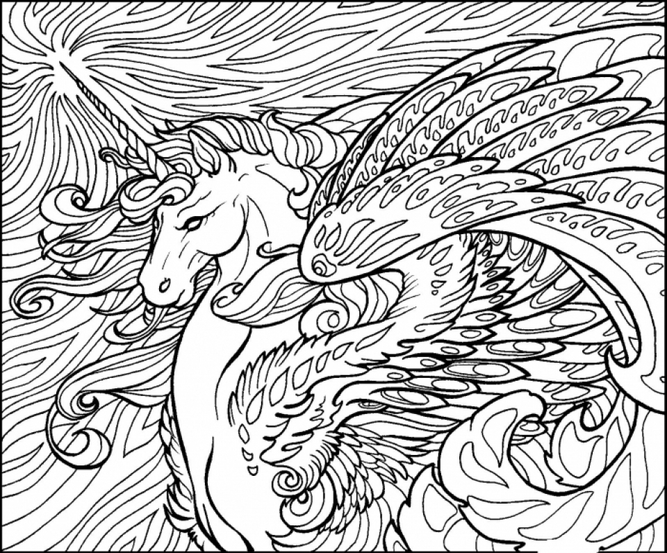 Free Printable Unicorn Coloring Pages for Adults   PL652