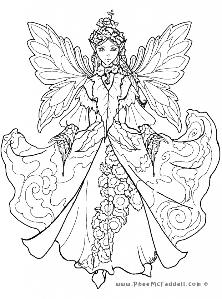 Printable Hard Coloring Pages of Angel for Grown Ups   9NB138