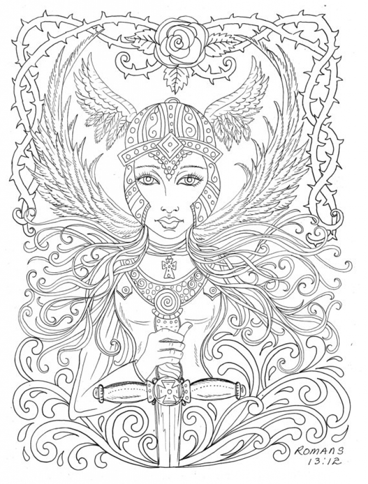 Get This Printable Hard Coloring Pages Of Angel For Grown Ups CTK75 !