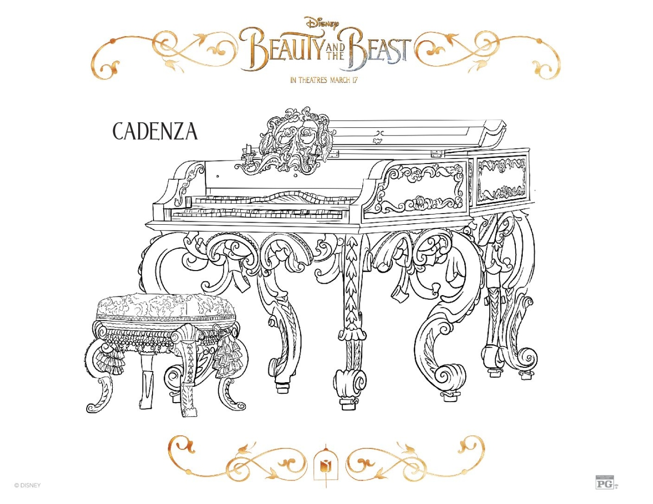 Free Printable Beauty and The Beast 2017 Coloring Pages Cadenza
