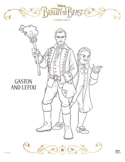 Free Printable Beauty and The Beast 2017 Coloring Pages Gaston and Lefou