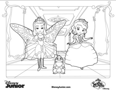 Dsiney Junior Princess Amber and Sofia the First Coloring Pages