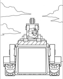 Kids Printable Paw Patrol Coloring Pages Rubble and His Tractor - 62810