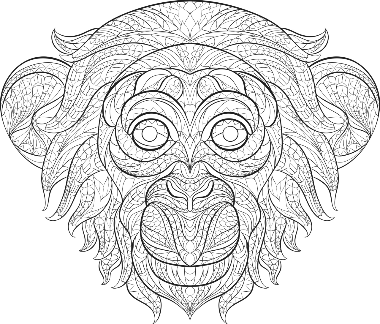 Monkey Coloring Pages for Adults - 60731