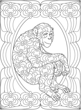 Monkey Coloring Pages for Adults - 93102