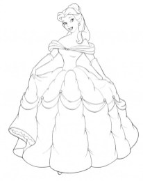 Princess Belle Girls Coloring Pages to Print Online - 25370