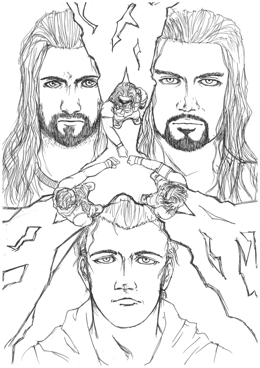 Printable wwe coloring pages roman reigns - 21893