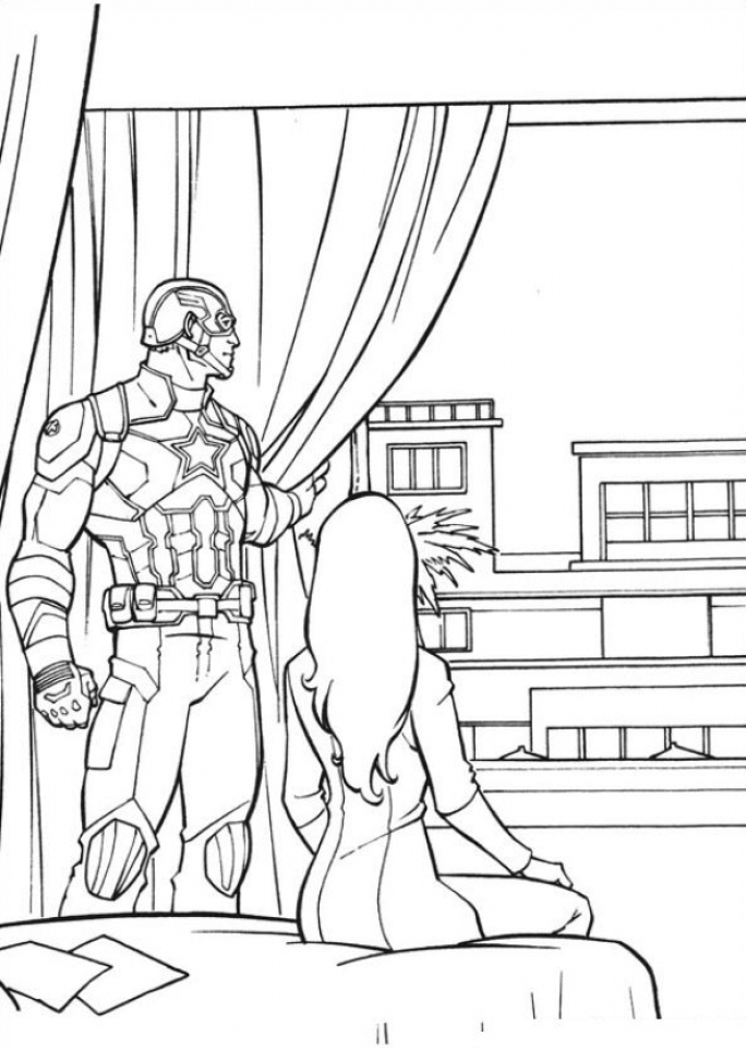 Captain America Coloring Pages Avengers Printable   90317