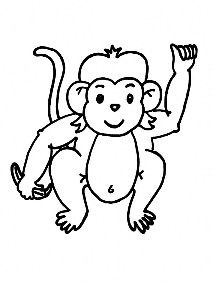 Cute Baby Monkey Coloring Pages for Kids   39027