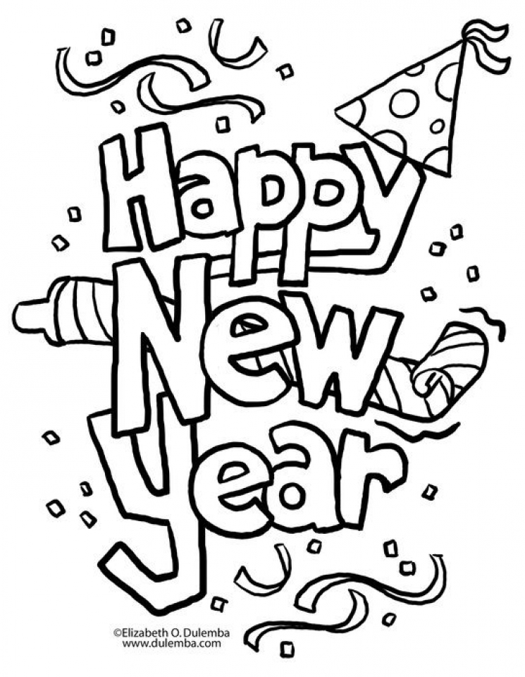 New Years Coloring Page | New year coloring pages, Free online ... | 960x745