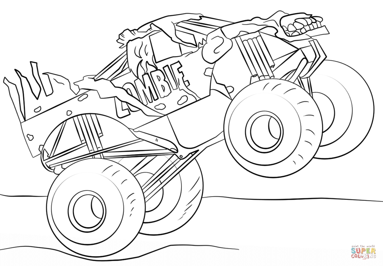 Get This Jam Zombie Monster Truck Coloring Page