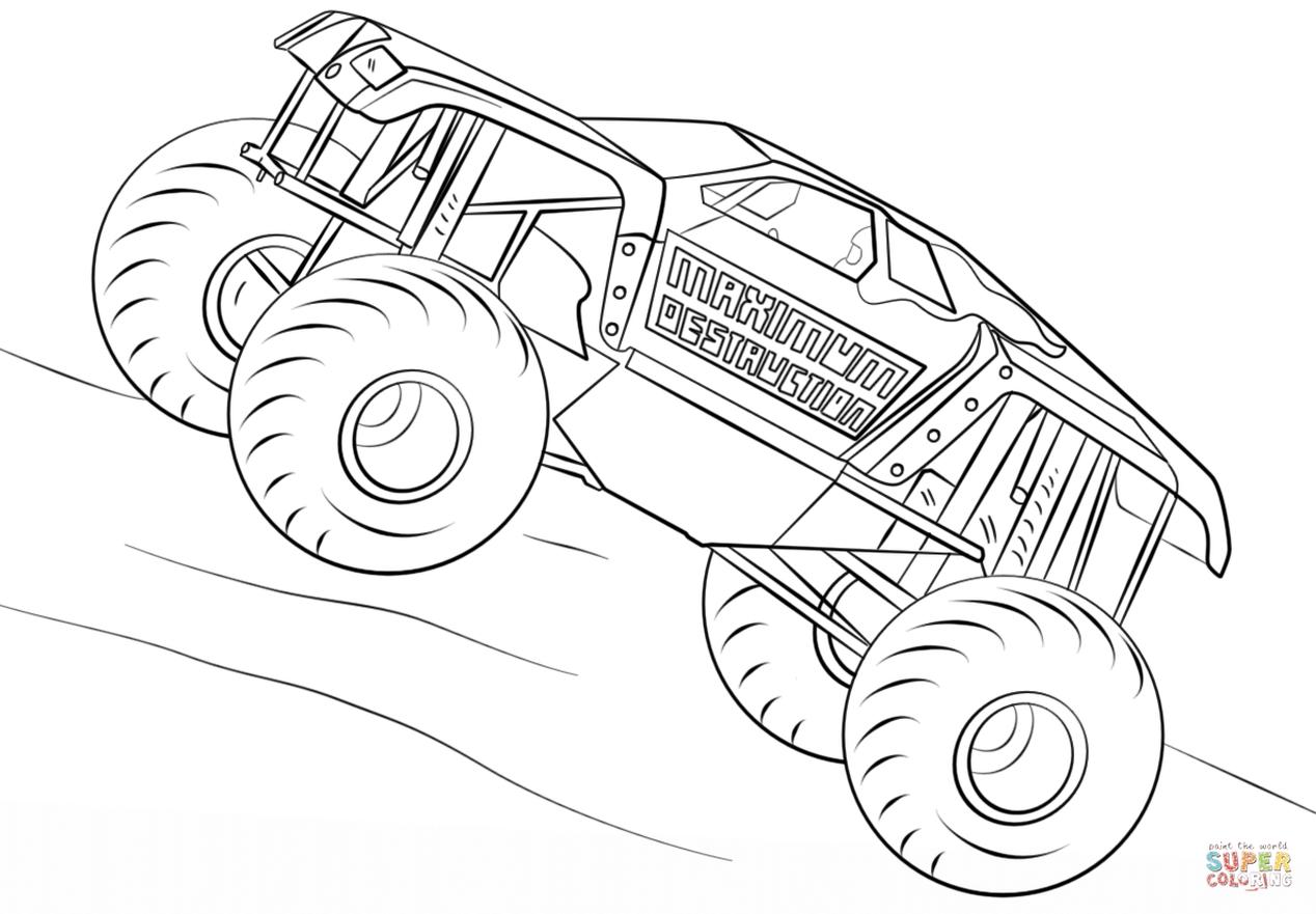 maximum destruction monster truck coloring page - 38721