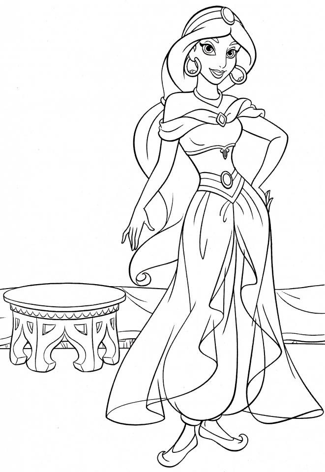 20+ Free Printable Disney Princess Jasmine Coloring Pages ... | disney princess jasmine colouring pages