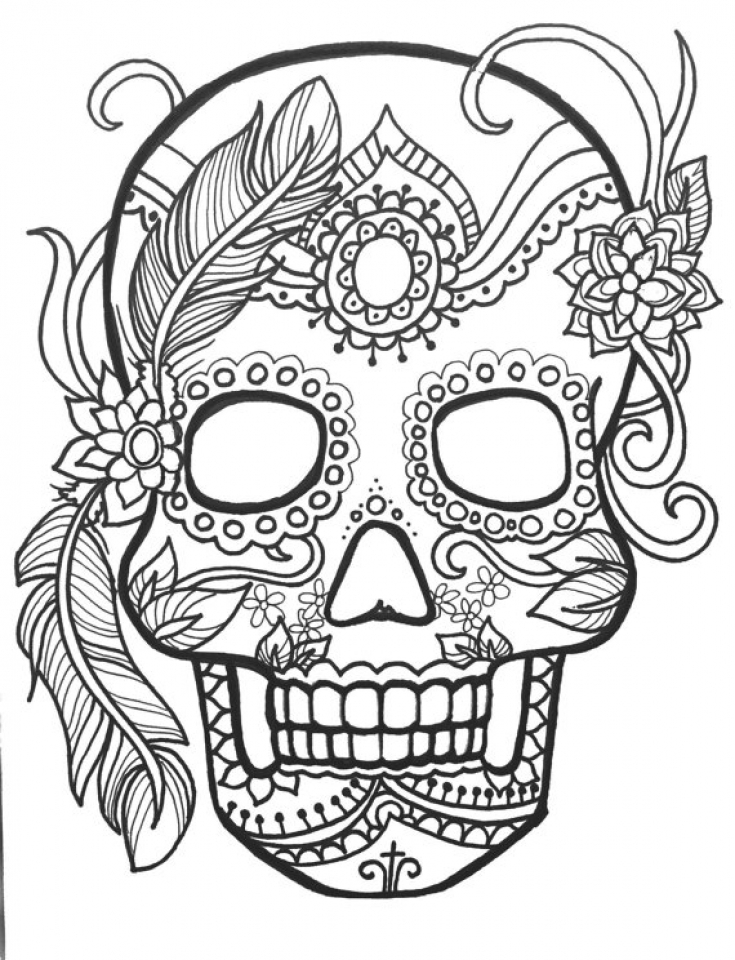 Sugar Skull Coloring Pages for Adults   95637