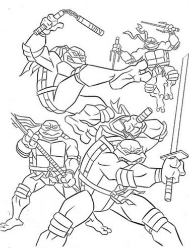 Ninja Turtles Coloring Pages Teenage Mutant Ninja Turtles Cartoon ... | 492x375